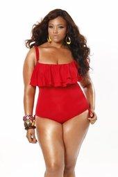 Women's Plus Size Swimwear - Monif C Espana Ruffle Swimsuit w/ Detachable Strap - NO RETURNS
