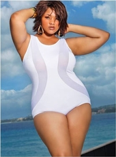 Women's Plus Size Swimwear - Monif C Dunn's River Mesh Insert Plus Size Swimsuit - NO RETURNS