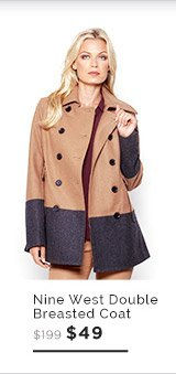 Nine West Two-Tone Double Breasted Coat $49