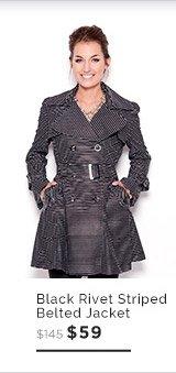 Black Rivet Striped Double Breasted Belted Jacket $59