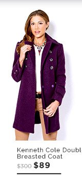 Kenneth Cole Double Breasted Woven Coat $89