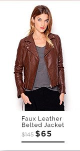 PIKO1988 Faux Leather Belted Jacket $65