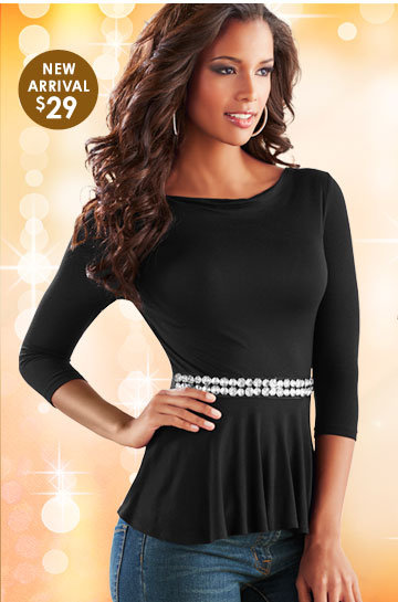 SHOP Rhinestone Peplum Top $29