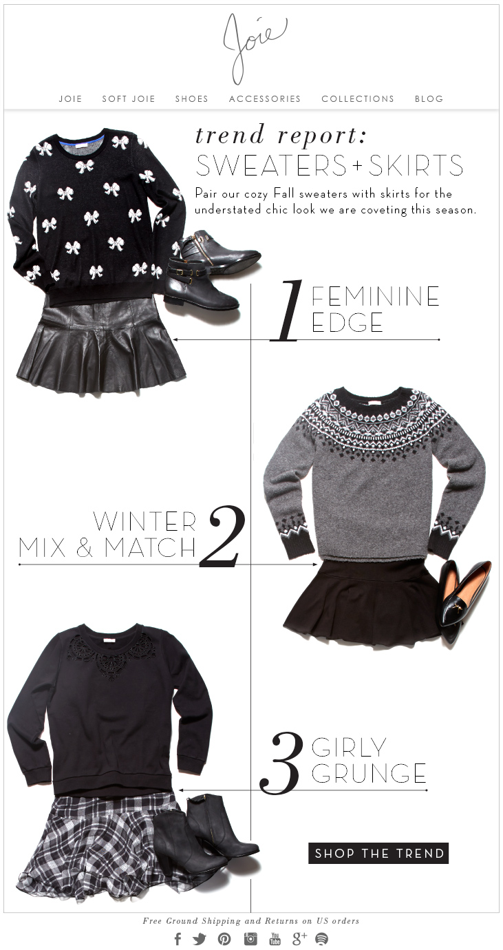 trend report: SWEATERS + SKIRTS Pair our cozy Fall sweaters with skirts for the understated chic look we are coveting this season.