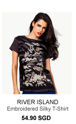 RIVER ISLAND Black Oriental Embroidered Silky T-Shirt