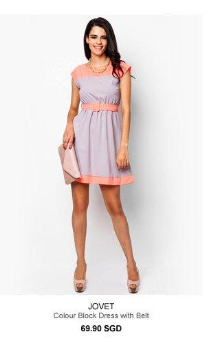 JOVET Colour Block Dress with Belt