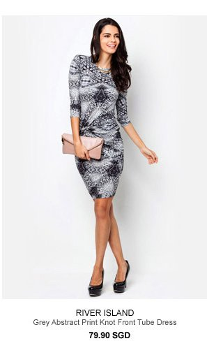 RIVER ISLAND Grey Abstract Print Knot Front Tube Dress