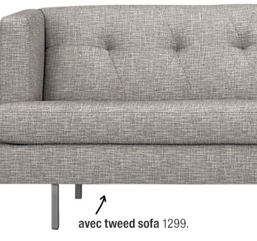 avec tweed sofa 1299.