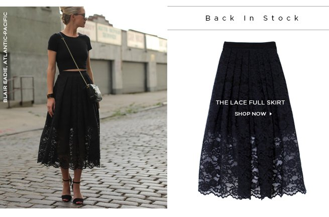 Tibi Lace Full Skirt as worn by Blair Eadie. Shop Now>