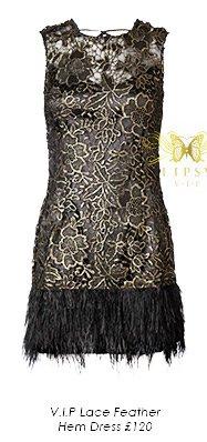 V I P Lace Feather Hem Dress