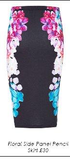 Floral Side Panel Pencil Skirt