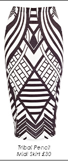 Tribal Pencil Midi Skirt