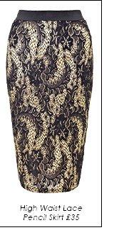 High Waist Lace Pencil Skirt