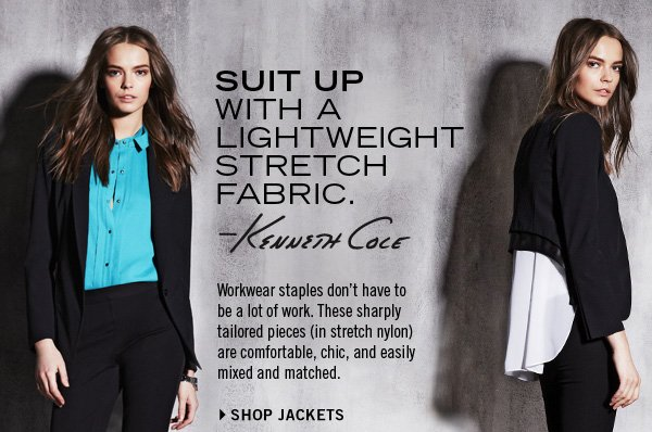 SUIT UP WITH A LIGHTWEIGHT STRETCH FABRIC. › SHOP JACKETS