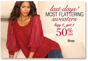 sweaters - buy 1, get 1 50 percent off