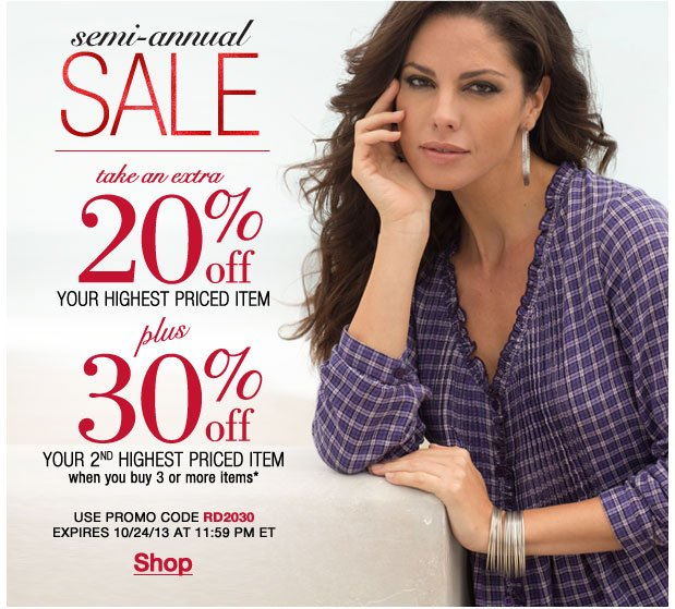 Take an Extra 20% off your highest item + 30% off your second when you buy 3! Use RD2030