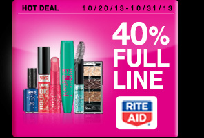 40% off the full line of NYC Cosmetics Dates: 10/20/13 - 10/31/13 Offer exclusive to Rite Aid