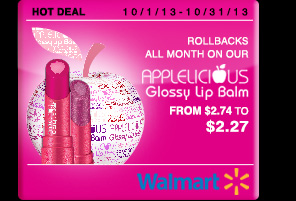 Rollbacks all month long on our Applelicious Glossy Lip Balm for only $2.27 Offer exclusive to Walmart