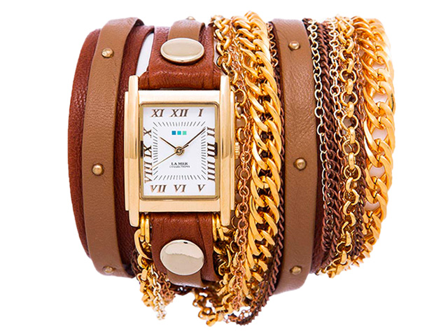 Brown Wash Taupe Gold Stud Arizona Wrap Watch