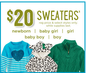 $20 Sweaters(3). regular price & select styles only. while supplies last.