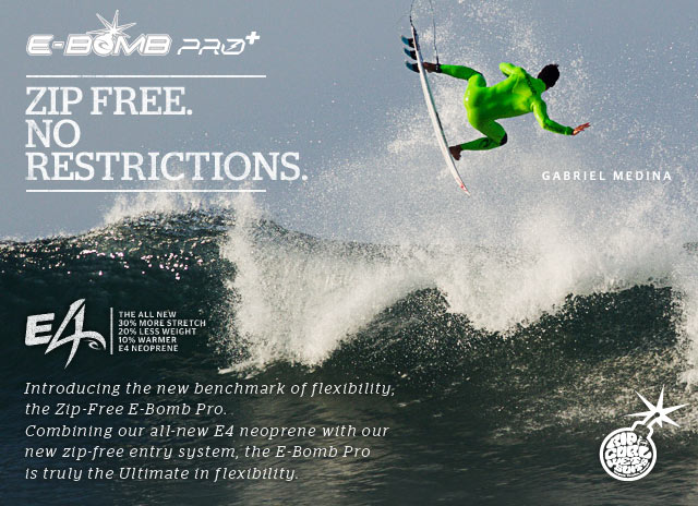 E-Bomb Pro - Zip Free. No Restrictions. - E4 - Introducing the new benchmark of flexibility, the Zip-Free E-Bomb Pro. Combining our all-new E4 neoprene with our new zip-free entry system, the E-Bomb Pro is truly the Ultimate in flexibility