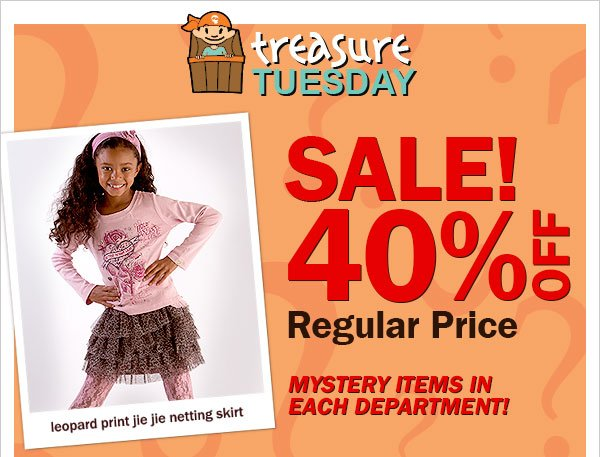 Treasure Tuesday 40 percent off
