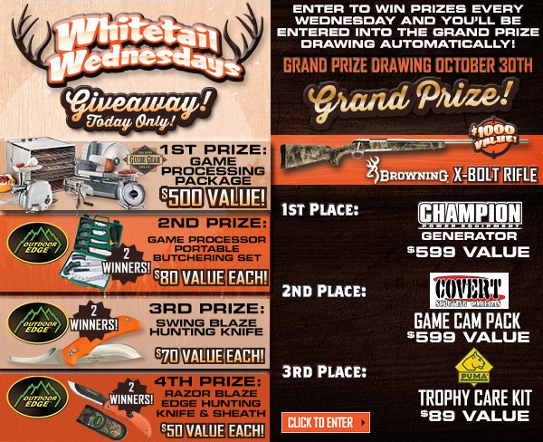 Enter to win prizes every Wednesday and you'll be entered into the grand prize drawing automatically! Grand prize drawing October 30th.