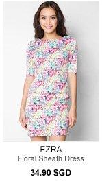 EZRA Floral Sheath Dress