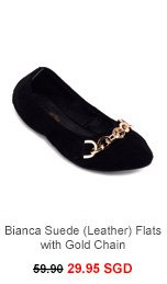 ALL THAT GLITTERS Bianca Suede (Leather) Flats with Gold Chain
