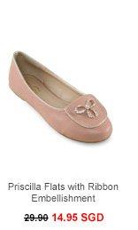 ALL THAT GLITTERS Priscilla Flats with Ribbon Embellishment