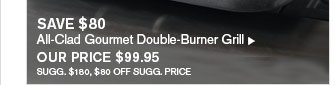 SAVE $80 - All-Clad Gourmet Double-Burner Grill - OUR PRICE $99.95 (SUGG. $180, $80 OFF SUGG. PRICE)