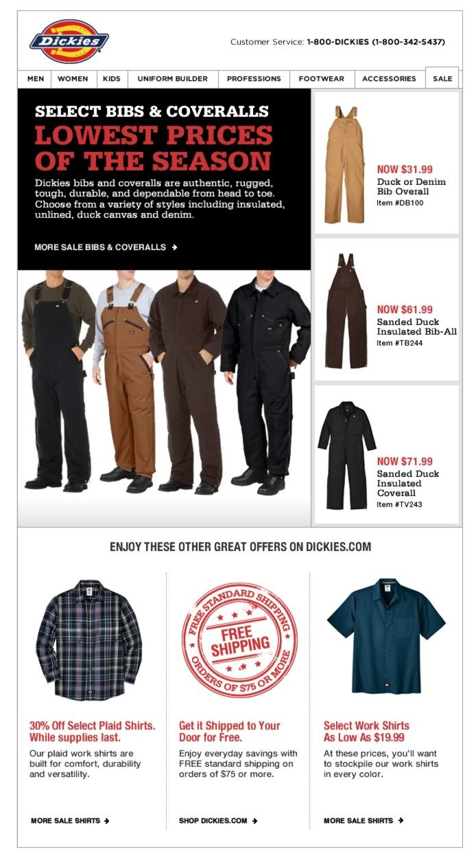 Lowest Prices of the Season - Light to Heavyweight Bibs & Coveralls