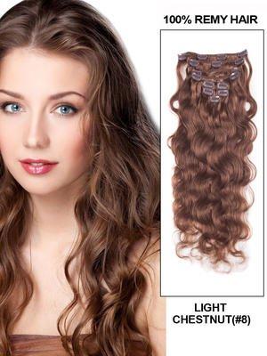 16' 7 Piece Deep Curl Clip In Human Hair Extension - Jet Black