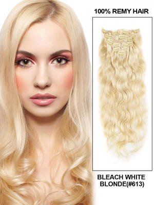14' 7 Piece Silky Straight Clip In Human Hair Extension - blonde