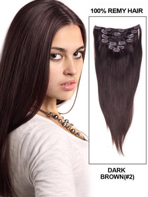 14' 7 Piece Silky Straight Clip In Human Hair Extension – Jet Black