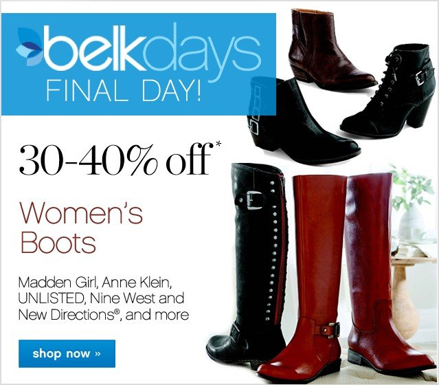 30-40% off Shoes and Boots. Shop now.