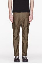WHITE MOUNTAINEERING Olive ANTIQUE WET SATIN ANKLE SLIM ADJUSTER PANTS for men