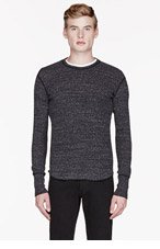WINGS + HORNS Charcoal waffle cotton THERMAL t-shirt for men
