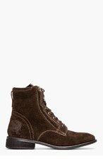 DIESEL Dark Brown Suede The Pit Boots for men