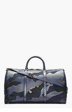 VALENTINO Navy Camo Print Leather Boston Duffle Bag for men