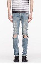 SAINT LAURENT Blude faded & destroyed jeans for men