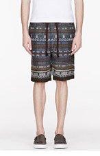 WHITE MOUNTAINEERING Blue & Green JACQUARD EZ shorts for men