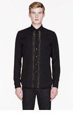 SAINT LAURENT Black Crystal belt trim shirt for men