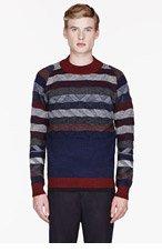 WHITE MOUNTAINEERING Navy KNIT DEFORMED HERRINGBONE PATTERNed sweater for men