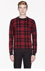 MARC BY MARC JACOBS Red & Navy SHEFFIELD PLAID SWEATSHIRT for men