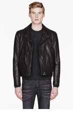 WINGS + HORNS Black washed LEATHER RIDERS jacket for men