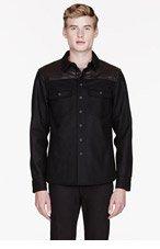 RAG & BONE Black leather-paneled LUMBERJACK SHIRT for men