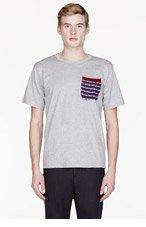 WHITE MOUNTAINEERING Grey Jersey block pattern Switching pocket t-shirt for men