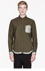 WHITE MOUNTAINEERING Olive Flannel CAMOUFLAGE-paneled SHIRT for men