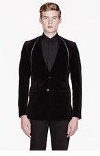 GIVENCHY Black velvet removable placket blazer for men